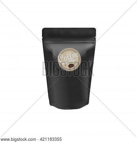 Matte Black Coffee Bean Ziplock Bag Stand Up On White Background