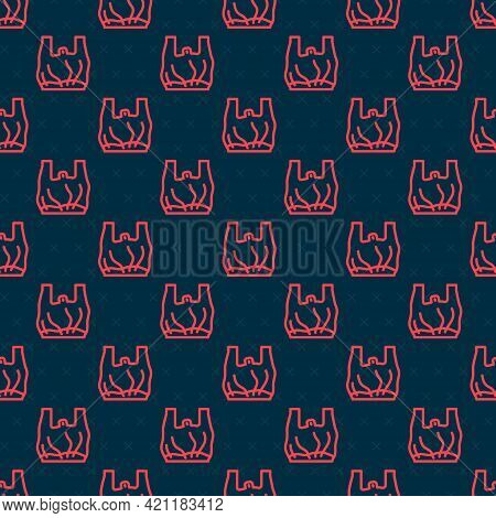 Red Line Say No To Plastic Bags Poster Icon Isolated Seamless Pattern On Black Background. Disposabl