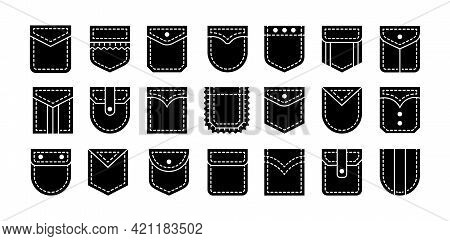 Patch Pockets With Flap And Button Closure. Different Shapes Flat And Cargo Pockets For Shirt, Jean