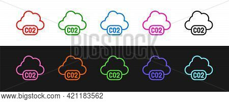 Set Line Co2 Emissions In Cloud Icon Isolated On Black And White Background. Carbon Dioxide Formula,