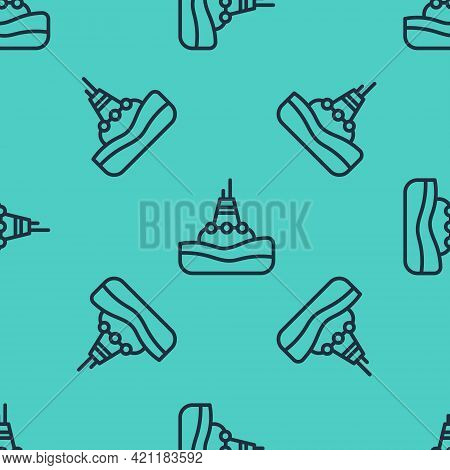 Black Line Floating Buoy On The Sea Icon Isolated Seamless Pattern On Green Background. Vector