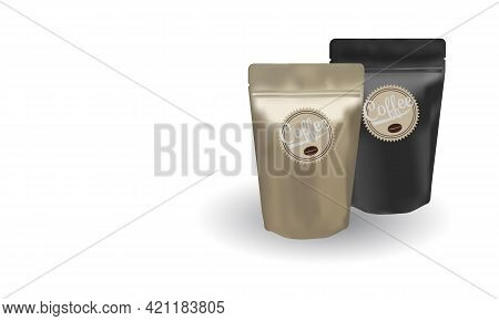 Matte Gold And Black Coffee Bean Ziplock Bags Stand Up On White Background