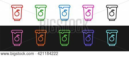 Set Line Yogurt Container Icon Isolated On Black And White Background. Yogurt In Plastic Cup. Vector