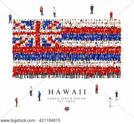 A Large Group Of People Are Standing In Blue, White And Red Robes, Symbolizing The Flag Of Hawaii. V
