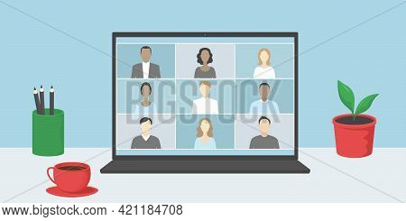 Group Video Chat On Laptop. Telework. Vector Illustration.
