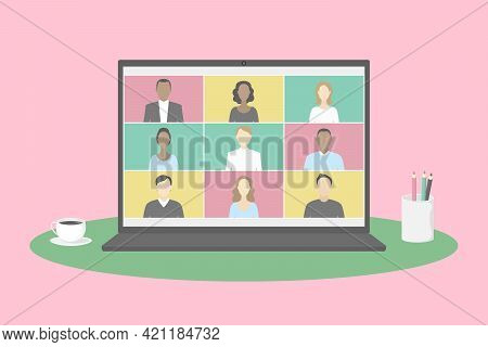 Group Video Chat App On Laptop. Teleworking. Vector Illustration.