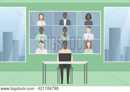 Group Video Call. Teleconference. Cartoon Style. Vector Illustration.