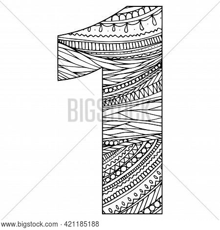 Zentangle Stylized Alphabet - Numeral 1. Black White Hand Drawn Doodle. Ethnic Pattern. African, Ind
