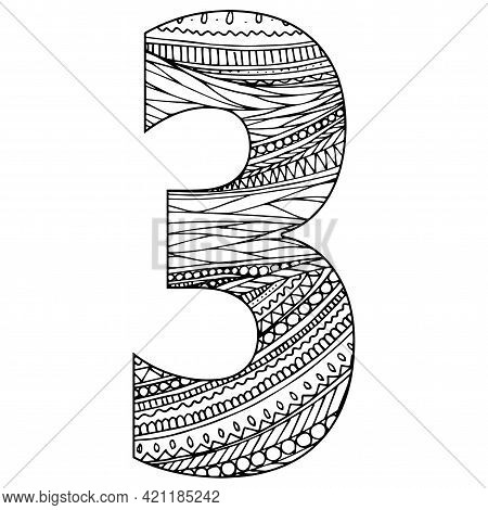 Zentangle Stylized Alphabet - Numeral 3. Black White Hand Drawn Doodle. Ethnic Pattern. African, Ind