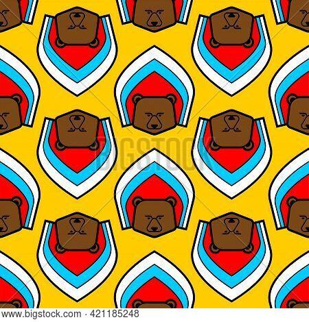 Russian Bear In Kokoshnik Pattern Seamless. Russian National Cap Symbol Background. Traditional Icon