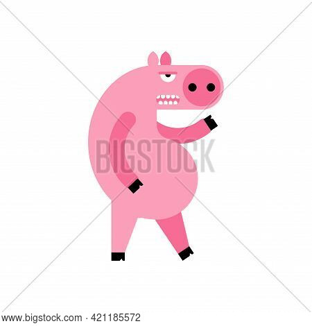 Angry Pig. Disgruntled Piggy. Wicked Swine Vector Illustration