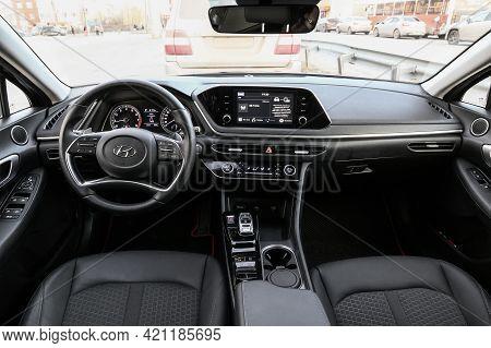 Novyy Urengoy, Russia - May 3, 2021: Interior Of The Korean Saloon Car Hyundai Sonata (dn8).