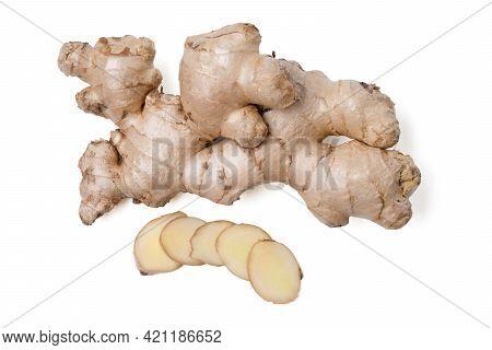 Isolated Ginger Root. Fresh Ginger Root Rhizome With Shredded Ginger On White Background, Herb Medic
