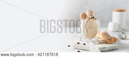 Tiramisu Banner. Italian Dessert Tiramisu In A Glass Dressed With Mascarpone Crem, Chocolate And Sav