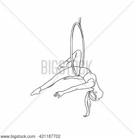Sportive Woman Performing Aerial Dance In The Hoop. Woman Acrobat In The Ring. Sketch Vector Illustr