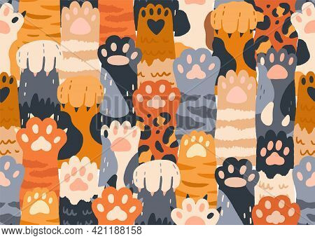 Seamless Pattern With Cute Cat Paws Raised Up Together. Repeating Background With Kitties Hands. Fel