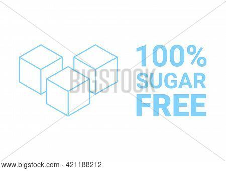 Sugar Free Icon. Sugar Cube Refined Sign. No Sugar Added Product Package Design. Blue Outline Sugar