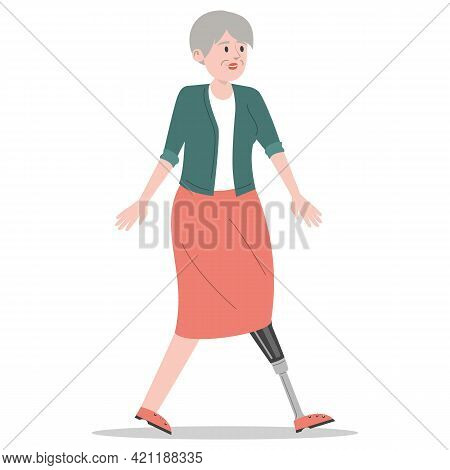 Happy Old Woman With The Prosthetic Leg