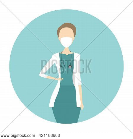 Caucasian Woman Therapeutist. Medical Doctor. Vector Illustration.