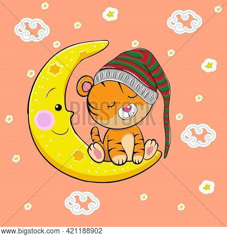 A Cute Cartoon Tiger With Closed Eyes In A Hat For Sleeping Sleeps On The Moon. Vector Illustration.