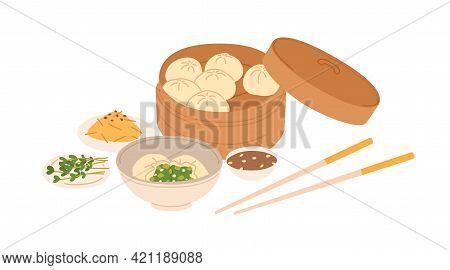 Chinese Dumplings Served In Traditional Box With Sesame Sauce Bowl And Chopsticks. Asian Dough Food