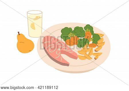 Salmon Steak And Steamed Vegetables Served On Plate. Healthy Food And Drink For Lunch, Dinner Or Sup