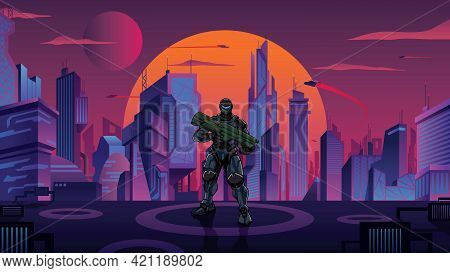 Illustration Of Futuristic Soldier In High-tech Exoskeleton Armor Suit Holding Big Laser Gun, In Fut
