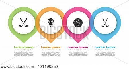 Set Crossed Golf Club, Golf Ball On Tee, And . Business Infographic Template. Vector