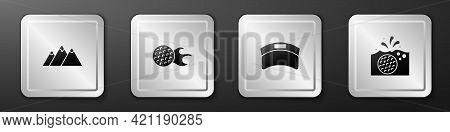 Set Mountains, Golf Ball, Sun Visor Cap And Water Icon. Silver Square Button. Vector