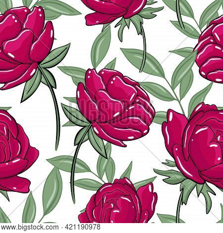 Seamless Pattern With Burgundy Peonies. Vector, Peony. Floral Colorful Background With Large Flowers