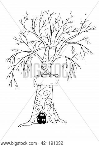 Tree With A Sign And Burrow Isolated On White Background