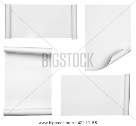 White Crumpled Curled Scroll Note Paper