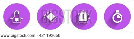 Set Kitchen Apron, Packet Of Pepper, Electric Kettle And Stopwatch Icon With Long Shadow. Vector