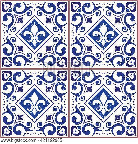 Azulejo Tiles Seamless Vector Pattern - Lisbon Decorative Style, Old Scratched Ornamental Design Ins