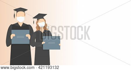 Graduate Students In Masks. Post-secondary Education During Pandemic. Vector Illustration.