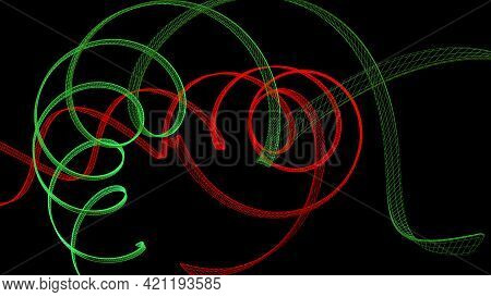 Red And Green Helix Structure On Black Background - 3d Rendering Illustration