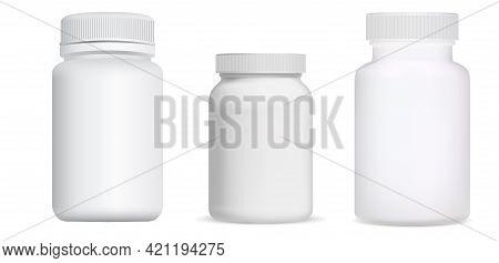 Pill Bottle. Vitamin Package Blank, Supplement Jar. Medical Capsule Container, Tablet Drug Can, Phar