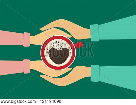 Oncept Of A Romantic Meeting. Vector Illustration. Female Hands Hold A Cup Of Coffee And Male Hands