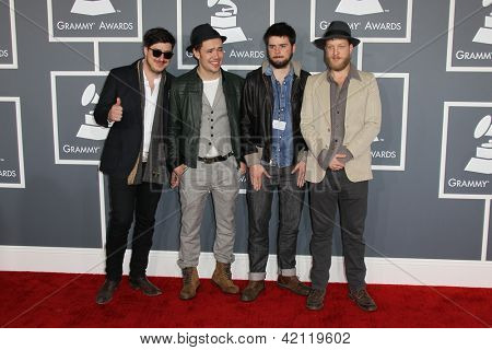 LOS ANGELES - FEB 10:  Mumford & Sons arrives at the 55th Annual Grammy Awards at the Staples Center on February 10, 2013 in Los Angeles, CA