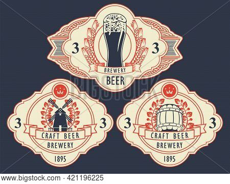 Set Of Three Labels For Brewery Craft Beer In Figured Frames In Retro Style. Vector Labels With An O