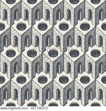 Seamless Pattern With Hand-drawn Architectural Elements. Repeating Vector Texture With 3d Cubic Elem