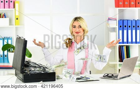 Happy Woman Counting Money. Successful Investment. Business Success. Business Investment. Accounting