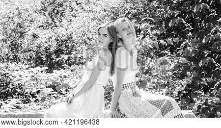 Friendship Concept. Girls Friends Nature Background. Enjoy Pleasant Society. Revelation And Sincerit