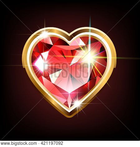Bright Ruby In The Shape Of A Heart