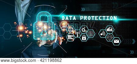 Businessman Standing And Touching Padlock Icon Cyber Security Network Data Base On Virtual Interface