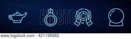 Set Line Magic Ball On Hand, Lamp Or Aladdin, Stone Ring With Gem And . Glowing Neon Icon On Brick W