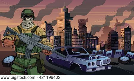Illustration Of Army Soldier Holding A Gun In City In Ruins.