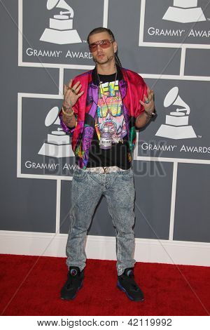 LOS ANGELES - FEB 10:  Riff Raff arrives at the 55th Annual Grammy Awards at the Staples Center on February 10, 2013 in Los Angeles, CA