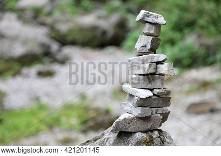 High Pile Of Stones In The Mountains Called By Mountaineers Cairn Or A Little Man Symbol Of Prayer O