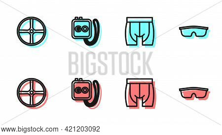 Set Line Cycling Shorts, Bicycle Wheel, Stopwatch And Sport Cycling Sunglasses Icon. Vector